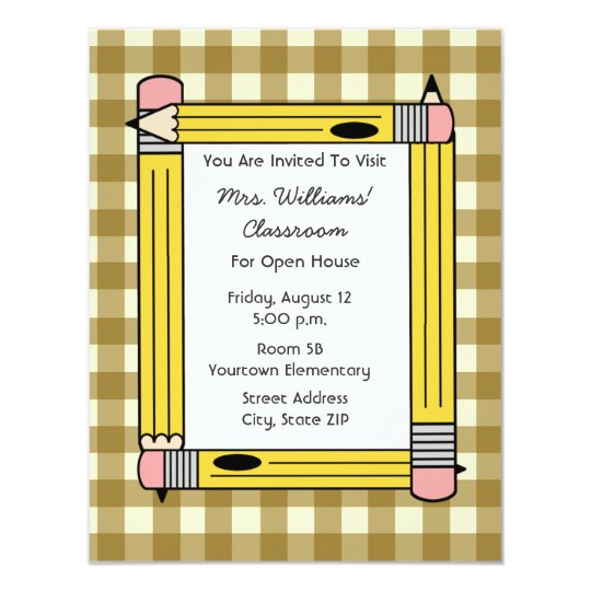 Classroom Open House - Tan Gingham Yellow Pencils Card