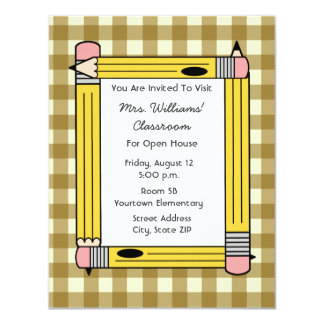 Classroom Open House - Tan Gingham Yellow Pencils 4.25x5.5 Paper Invitation Card