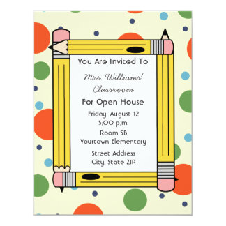 Classroom Open House - Yellow Pencils & Dots Card