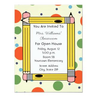 Classroom Open House - Yellow Pencils & Dots 4.25x5.5 Paper Invitation Card
