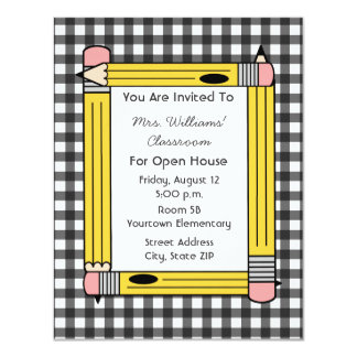 Classroom Open House: Yellow Pencils, Gray Gingham 4.25x5.5 Paper Invitation Card