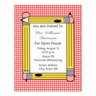 Classroom Open House: Yellow Pencils, Red Gingham Announcement