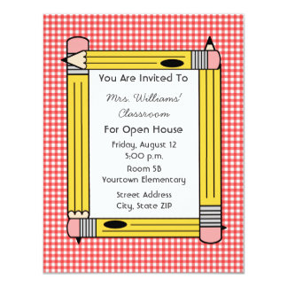 Classroom Open House: Yellow Pencils, Red Gingham 4.25x5.5 Paper Invitation Card