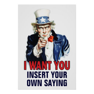 Classroom Poster: I Want You - CUSTOMIZE - Poster
