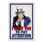 Classroom Poster: I Want You to PAY ATTENTION