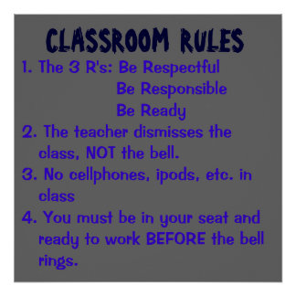 CLASSROOM  RULES, 1. The 3 R's: Be Respectful  ... Poster