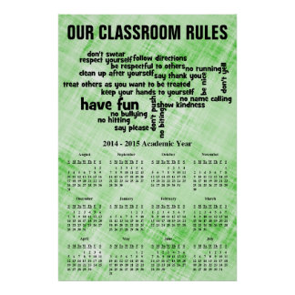 Classroom Rules 2015 Calendar Posters