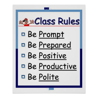 Classroom Rules 5 P s Poster