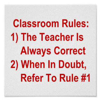 Classroom Rules (all red text) Poster
