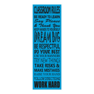 """Classroom Rules Poster (Blue), 12"""" x 36"""""""