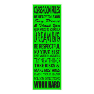 "Classroom Rules Poster (Lime Green), 12"" x 36"""
