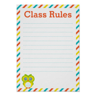 Classroom Rules Poster - Owl Theme