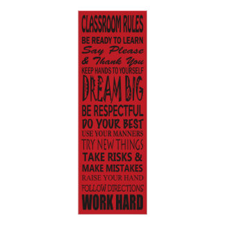 """Classroom Rules Poster (Red), 12"""" x 36"""""""