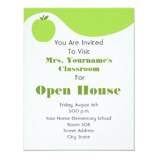 "Classroom / School Open House- Green Apple 4.25"" X 5.5"" Invitation Card"