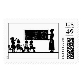Classroom Silhouette Postage Stamp