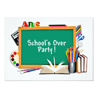 Classroom Supplies Chalkboard End of School Party Card