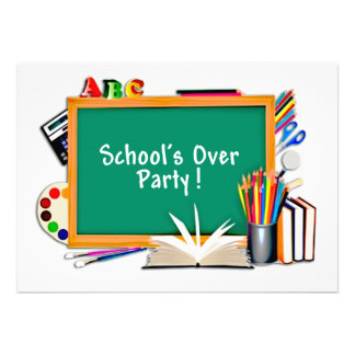 Classroom Supplies Chalkboard End of School Party Custom Invitation
