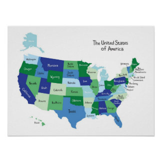 Classroom United States Map Poster
