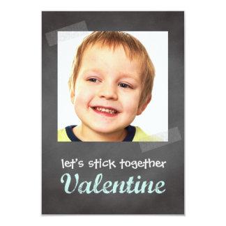 Classroom valentine exchange chalkboard photo blue 3.5x5 paper invitation card