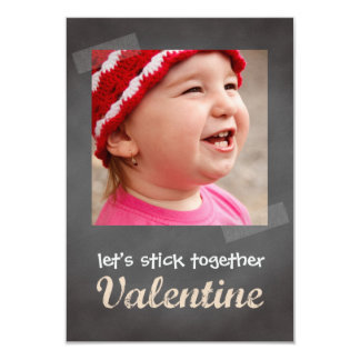 Classroom valentine exchange chalkboard photo pink 3.5x5 paper invitation card