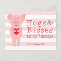 Classroom Valentines for Kids Pig Hog and Kisses Holiday Postcard