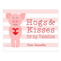 Classroom Valentines for Kids Pig Hog and Kisses Postcard