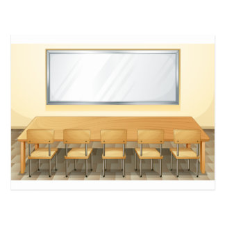 Classroom with whiteboard and chairs postcard