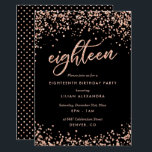 """Classy 18th Birthday Invitation Rose Gold Confetti<br><div class=""""desc"""">Classy 18th Birthday Party Invitations: Sparkly rose gold confetti 18th birthday party invitation design featuring bright rose gold glitter look confetti polka dots. Rose gold """"eighteen"""" written in hand-lettering script typography. Contemporary lettering fills out the party details. [Note that while elements of this design will print to look like glitter,...</div>"""