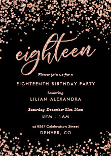 Cly 18th Birthday Invitation Rose Gold Confetti