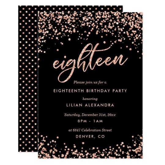 Classy 18th Birthday Invitation Rose Gold Confetti