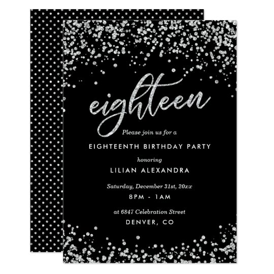 Classy 18th Birthday Invitation Sparkly Confetti