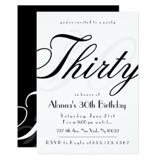 Classy 30th Birthday Invitations