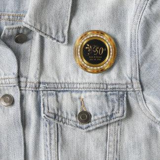 Classy 50th Golden Diamond Wedding Anniversary Pinback Button