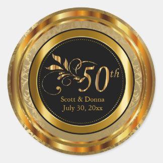 Classy 50th Golden Wedding Anniversary Classic Round Sticker