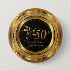 Classy 50th Golden Wedding Anniversary Pinback Button at Zazzle