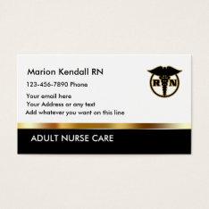 Classy Adult Nurse Care Business Card at Zazzle