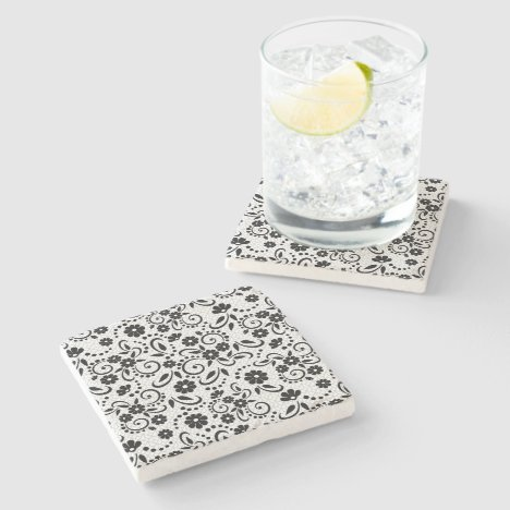 Classy and elegant black and white floral stone coaster