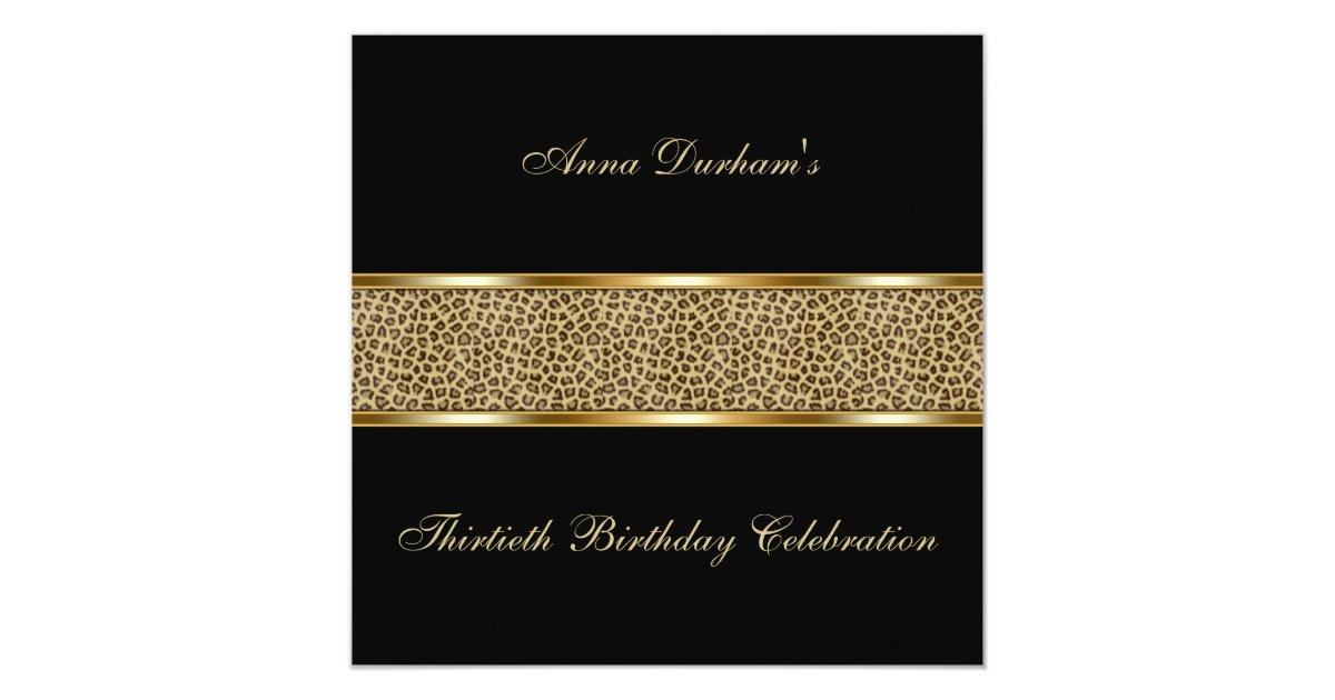 Classy Animal Print Invite Leopard Black