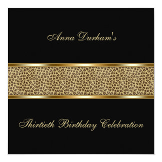 """Classy Animal Print Invite [Leopard - Black] 5.25"""" Square Invitation Card"""