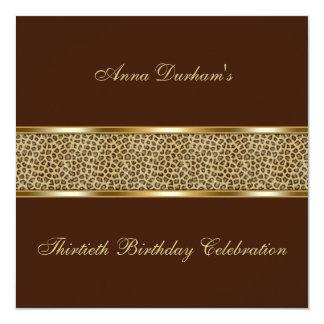 """Classy Animal Print Invite [Leopard - Brown] 5.25"""" Square Invitation Card"""