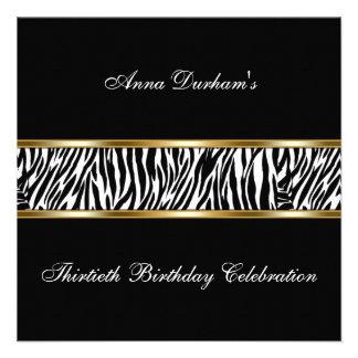 Classy Animal Print Invite Zebra - Black Gold