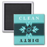 Classy Aqua and Black Floral Dishwasher 2 Inch Square Magnet