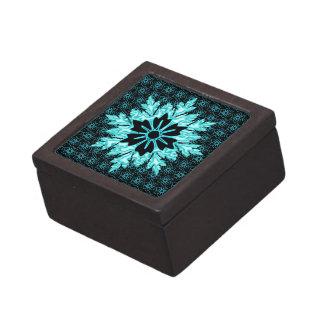 Classy Aqua and Black Floral Pattern Jewelry Box