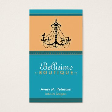 Professional Business Classy Aqua/Coral Chandelier Trendy Business Card