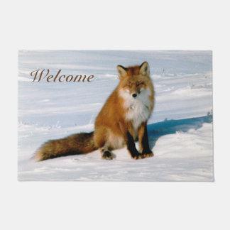 Classy Arctic Red Fox Winter Scene Photo Designed Doormat