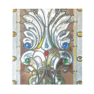 Classy Art Deco Stained Glass Chic Design Notepad