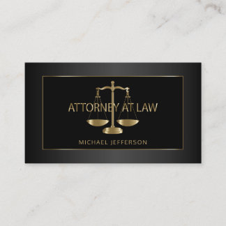 Classy Attorney at Law - Black and Gold Business Card