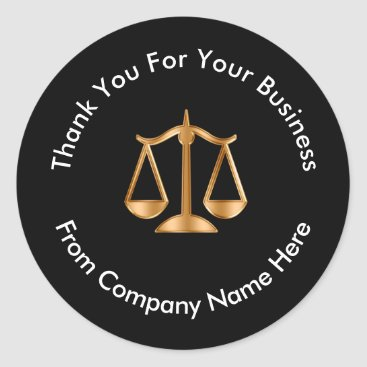 Classy Attorney Legal Logo Thank You Classic Round Sticker