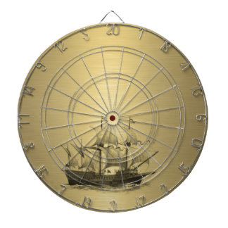 Classy attractive Golden look Ancient ship Dartboard With Darts