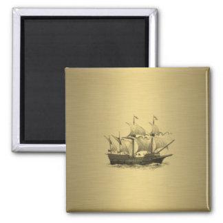 Classy attractive Golden look Ancient ship Magnet